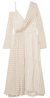 ADEAM Asymmetric Gingham Cloque Midi Dress