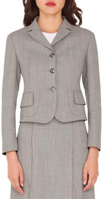 Akris Short End-on-End Woven Wool-Blend Jacket