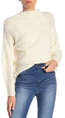 William Rast Robbin Mock Neck Ribbed Knit Sweater