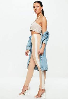 Missguided Camel Crepe Contrast Stripe Pants