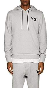 Y-3 Men's Logo-Print Cotton Hoodie-Gray