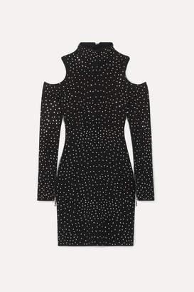 Balmain Cold-shoulder Crystal-embellished Stretch-jersey Mini Dress - Black