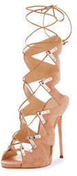 Lace-Up Suede High Sandal