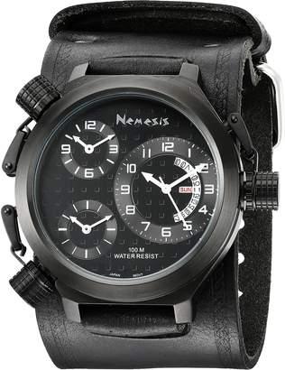 Nemesis Men's KIN080KK Signature 3-TimeZone All Leather Band Watch