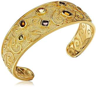 18k Yellow Gold Over Fine Silver Plated Bronze Matte Finish Art Glass Vintage Inspired Open Cuff Bracelet