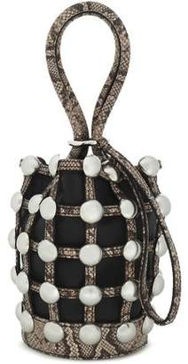 Alexander Wang Roxy Studded Snake-Effect And Smooth Leather Bucket Bag