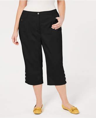 Karen Scott Plus Size Button-Cuff Capri Pants