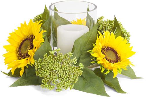 Sunflower & Seedum Candleholder