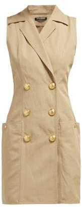 Balmain Sleeveless Double Breasted Poplin Dress - Womens - Beige