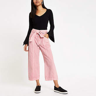River Island Womens Petite pink belted denim culottes