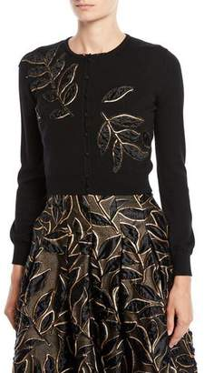 Oscar de la Renta Crewneck Button-Front Leaf-Embroidered Cropped Cardigan