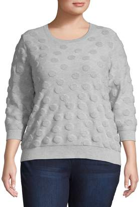 Lord & Taylor Plus Textured Three-Quarter Sleeve Cotton Sweater