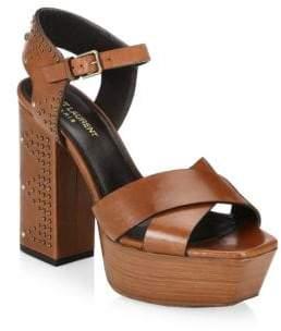 Saint Laurent Farrah Studded Leather Platform Sandals