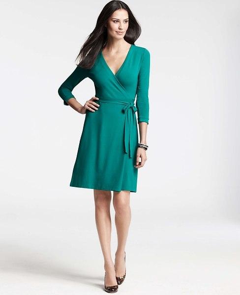 Ann Taylor 3/4 Sleeve Jersey Wrap Dress