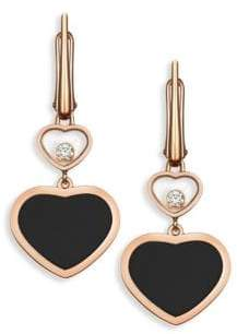 Chopard Happy Hearts Diamond& Black Onyx Drop Earrings