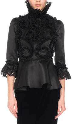 Andrew Gn 3/4-Sleeve Silk Ruffle-Embroidered Blouse w/ Dramatic High Neck