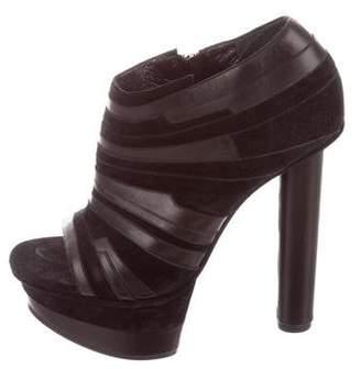 Calvin Klein Collection Peep-Toe Platform Ankle Booties