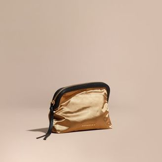 Burberry Large Zip-top Leather-trimmed Technical Nylon Pouch $195 thestylecure.com