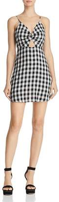 Cotton Candy Gingham Twist Front Dress
