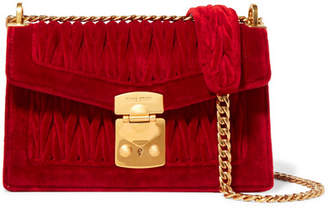 Miu Miu Confidential Matelassé Velvet Shoulder Bag - Red