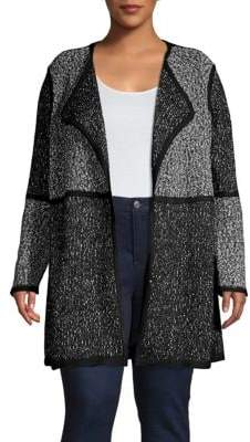 Calvin Klein Piped Long Open Front Cardigan