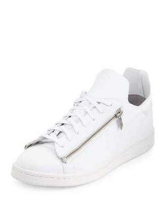 Y-3 Stan Zip-Side Leather Sneaker, White $340 thestylecure.com