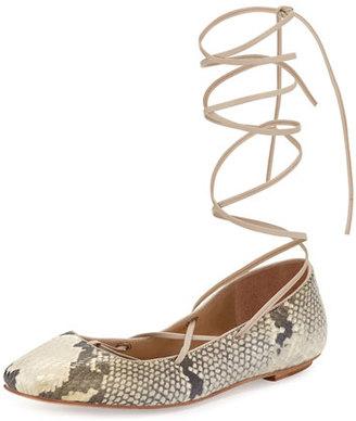 Delman Faith Python-Print Lace-Up Ballerina Flat, Roccia $228 thestylecure.com