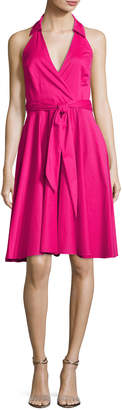 Badgley Mischka Platinum Sleeveless Tie-Waist Wrap Dress, Hot Pink