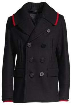 Burberry Men's Removable Rib-Knit Collar Wool& Cashmere Double-Breasted Peacoat - Black - Size 44 EU (34 US)