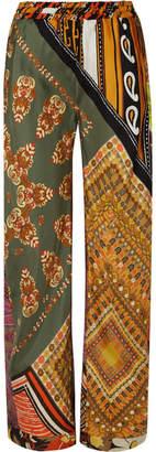 Chloé Printed Silk-satin Wide-leg Pants