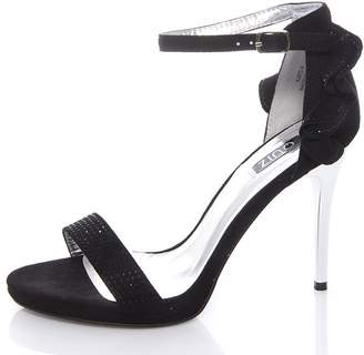 at Quiz Clothing Quiz Black Faux Suede Frill Sandals
