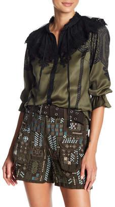 Whyte Eyelash 3/4 Sleeve Mock Neck Crochet Knit Print Blouse