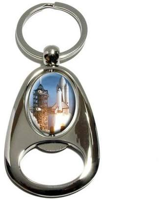 Columbia Generic Space Shuttle Launch, Spaceship Columbia, Chrome Plated Metal Spinning Oval Design Bottle Opener Keychain Key Ring