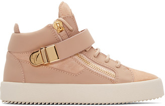 Giuseppe Zanotti Pink Matte Mid-Top Sneakers $825 thestylecure.com