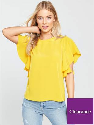 Warehouse Ruffle Top - Yellow