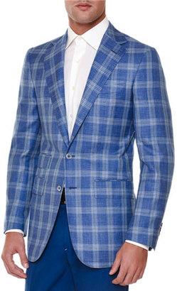 Stefano Ricci Windowpane Two-Button Sport Coat, Blue $6,995 thestylecure.com
