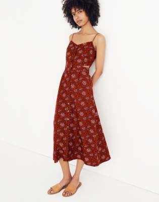 Madewell Cutout Cami Midi Dress in Warm Paisley