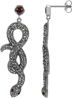 Swarovski Lavish By Tjm Lavish by TJM Sterling Silver Garnet Snake Drop Earrings - Made with Marcasite