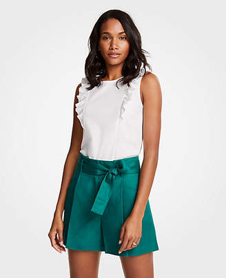 Ann Taylor Petite Pleated Tie Waist Shorts