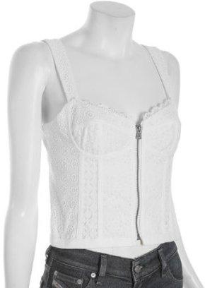 Nanette Lepore white eyelet 'Oceanic' zip cropped corset