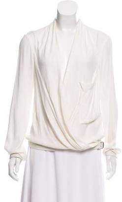 Helmut Lang Leather Trim Long Sleeve Blouse
