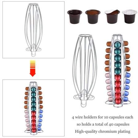 lifemakinggood 40 Non-Rotate Camber Capsule Coffee Pod Holder Stand Tower Rack Stander