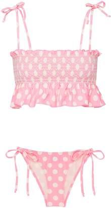 'Selena' smocked crepe bikini set