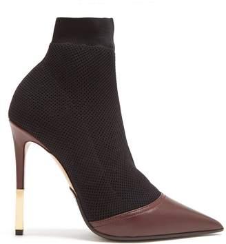 Balmain Aurore Burgundy Point-toe Honeycomb-knit Ankle Boots 35 FR MPe4m7Gr