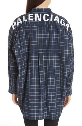 Balenciaga Back Logo Flannel Shirt
