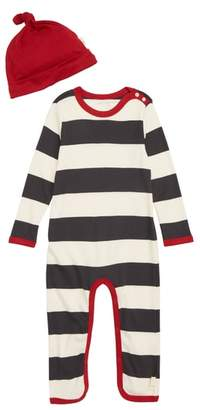 Burt's Bees Baby Rugby Stripe Coveralls & Hat Set