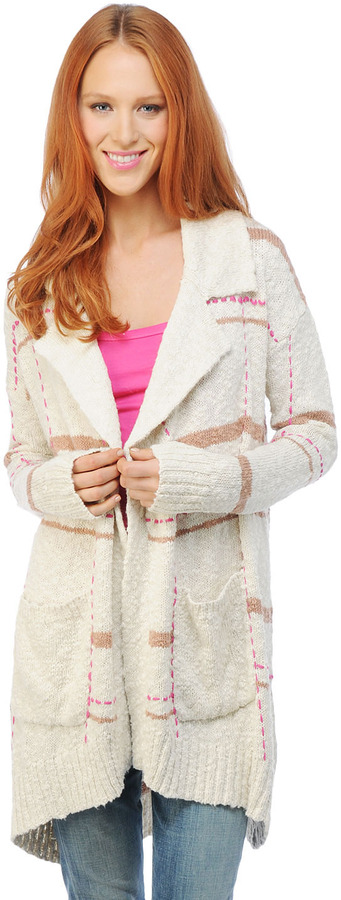 Splendid Beach Plaid Sweater Coat