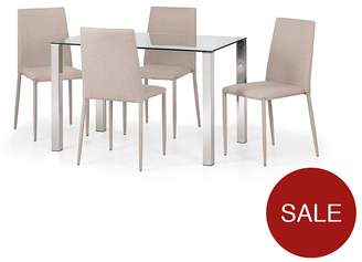 Camilla And Marc Julian Bowen Enzo 120 Cm Glass And Chrome Dining Table + 4 Linen Chairs - Sand