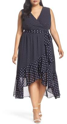 Eliza J Polka Dot High/Low Hem Dress