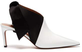 Altuzarra Kirk Tie Heel Satin And Patent Leather Mules - Womens - Black White